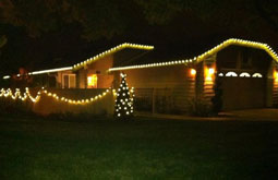 Residential house all white lights with christmas lights San Jose Bay Area Themes